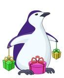 Pinguim com caixas de presente ilustração royalty free
