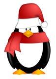 Pinguim com chapéu de Santa e o lenço vermelho Clipart Imagens de Stock Royalty Free