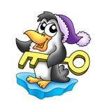 Pinguim com chave Imagem de Stock