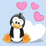 Pinguim com corações Foto de Stock Royalty Free