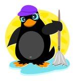 Pinguim com espanador Foto de Stock