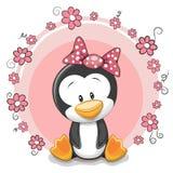 Pinguim com flores ilustração stock