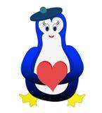 Pinguim com heatr Imagem de Stock Royalty Free