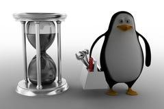 Pinguim com vidro da hora Imagem de Stock
