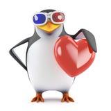 pinguim 3d nos vidros 3d que guardam um coração vermelho ilustração do vetor