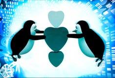 pinguim 3d que voa e que guarda a ilustração de três corações Foto de Stock Royalty Free
