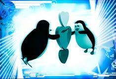 pinguim 3d que voa e que guarda a ilustração de três corações Fotografia de Stock