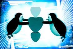 pinguim 3d que voa e que guarda a ilustração de três corações Imagem de Stock
