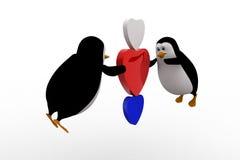 pinguim 3d que voa e que guarda um conceito de três corações Fotos de Stock