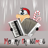 Pinguim do Feliz Natal que joga o acordeão Imagem de Stock