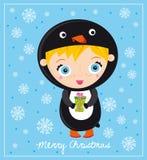 Pinguim do Natal fotografia de stock