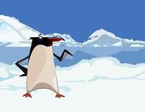 Pinguim dos desenhos animados em montanhas nevado e em gelo Fotos de Stock