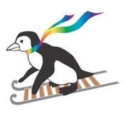 Pinguim dos desenhos animados que vai em um sledge Fotografia de Stock Royalty Free