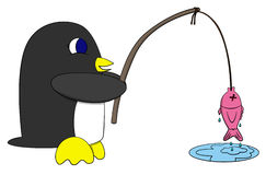 Pinguim e peixes Fotos de Stock Royalty Free