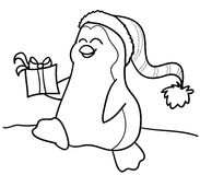 Pinguim e presente Fotografia de Stock Royalty Free