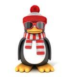 Pinguim em um lenço e em um tampão ilustração do vetor