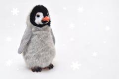 Pinguim no fundo branco da neve Foto de Stock Royalty Free