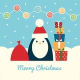 Pinguim Santa com presentes Foto de Stock Royalty Free
