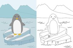 Pinguin auf Eisscholle Farbton-Seiten-Schablonen-Vektor Lizenzfreie Stockfotografie