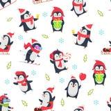 Pinguin bezszwowy wzór Kreskówka tekstylny projekt z wektorową ilustracją zimy śnieżny dziki śliczny zwierzę w różnorodnym ilustracji