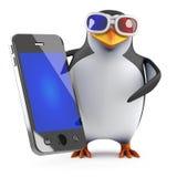 Pinguin 3d in den Gläsern 3d, die einen Smartphone halten Stockbild