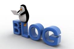 Pinguin 3d, der auf Bloggusstext sitzt und an Laptopkonzept arbeitet Stockfotografie