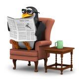 Pinguin 3d, der die Nachrichten in seinem Lieblingsstuhl liest Lizenzfreies Stockfoto