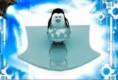 Pinguin 3d, der Karte der Welt und der Stellung auf Pfeil illustation hält Lizenzfreie Stockfotos