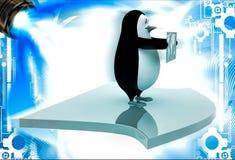 Pinguin 3d, der Karte der Welt und der Stellung auf Pfeil illustation hält Stockfotografie