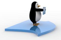 Pinguin 3d, der Karte der Welt und der Stellung auf Pfeilkonzept hält Lizenzfreie Stockbilder