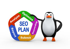 Pinguin 3d, der seo Plan hält Stockfotografie