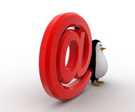 Pinguin 3d mit rotem E-Mail-Ikonenkonzept Lizenzfreie Stockfotos