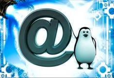 Pinguin 3d mit roter E-Mail-Ikonenillustration Stockfotos
