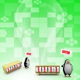 Pinguin 3d mit tragen Konzept ein Lizenzfreie Stockfotografie