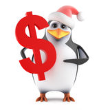 Pinguin 3d Sankt, der ein US-Dollar Symbol hält stock abbildung
