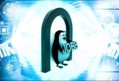 Pinguin 3d unter Eingang und Haltenjobs simsen in der Hand Illustration Lizenzfreie Stockfotos