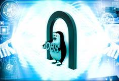Pinguin 3d unter Eingang und Haltenjobs simsen in der Hand Illustration Stockbilder