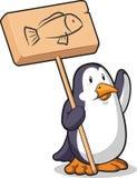 Pinguin, der ein hölzernes Zeichen anhält Lizenzfreie Stockfotos