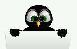 Pinguin, der ein Zeichen anhält Stockfotos