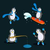 Pinguin in der flachen Art, 4 verschiedene Haltungen Blaue Farbe vektor abbildung