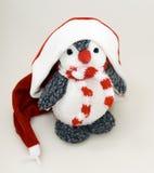Pinguin in der Winterschutzkappe Stockfotos