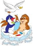 Pinguin, Dichtung und Möve lösen ein Kreuzworträtsel Stockbilder