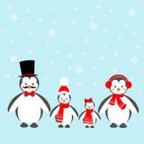 Pinguin-Familien-Ikone Lizenzfreie Stockfotos