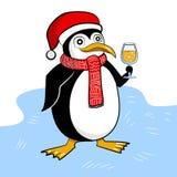 Pinguin feiert neues Jahr mit Glas Champagner lizenzfreie abbildung