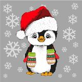 Pinguin in Santa Claus-Hut und mit den Handschuhen Auch im corel abgehobenen Betrag Lizenzfreies Stockfoto
