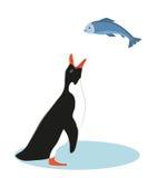 Pinguin und Fische Auch im corel abgehobenen Betrag lizenzfreie abbildung