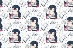 Pinguin und Häschen lizenzfreie abbildung