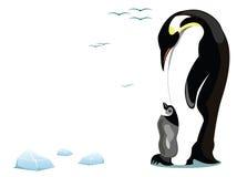 Pinguin und Sekundärteilchen vektor abbildung