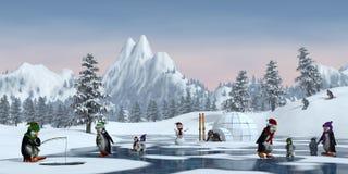 Pinguine in einer schneebedeckten Berglandschaft, 3d übertragen Stockfotografie