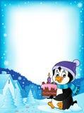 Pinguinholdingkuchenthemaspant 1 stock abbildung
